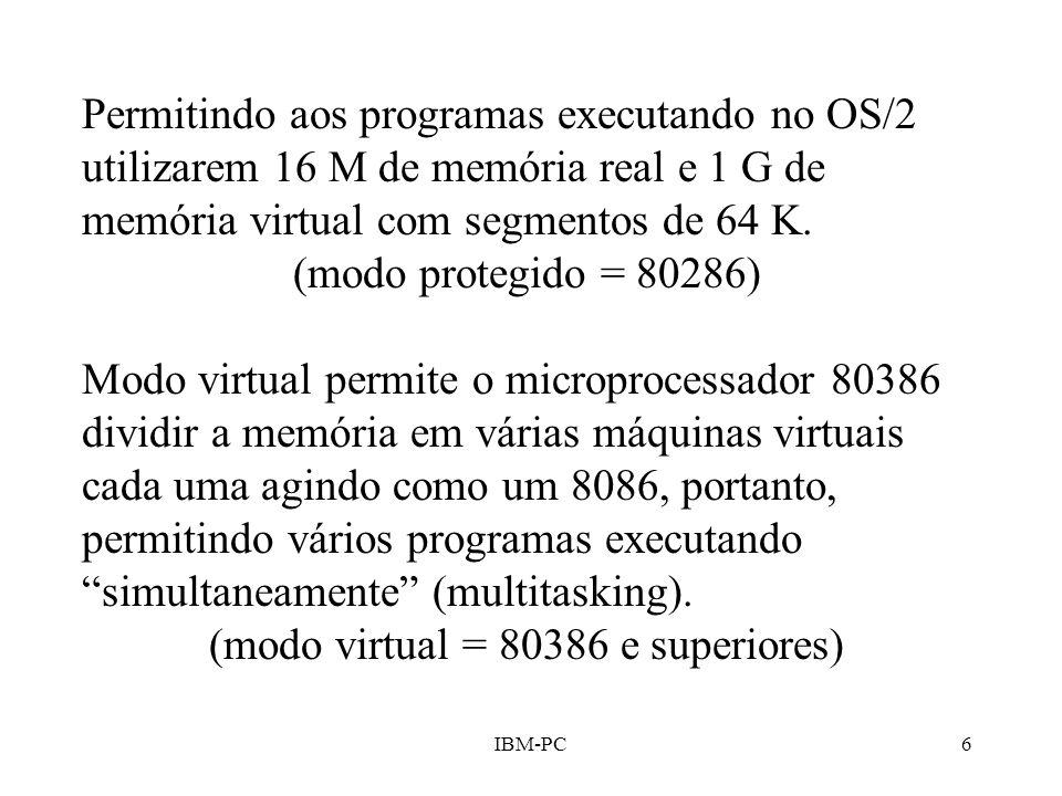 IBM-PC6 Permitindo aos programas executando no OS/2 utilizarem 16 M de memória real e 1 G de memória virtual com segmentos de 64 K. (modo protegido =