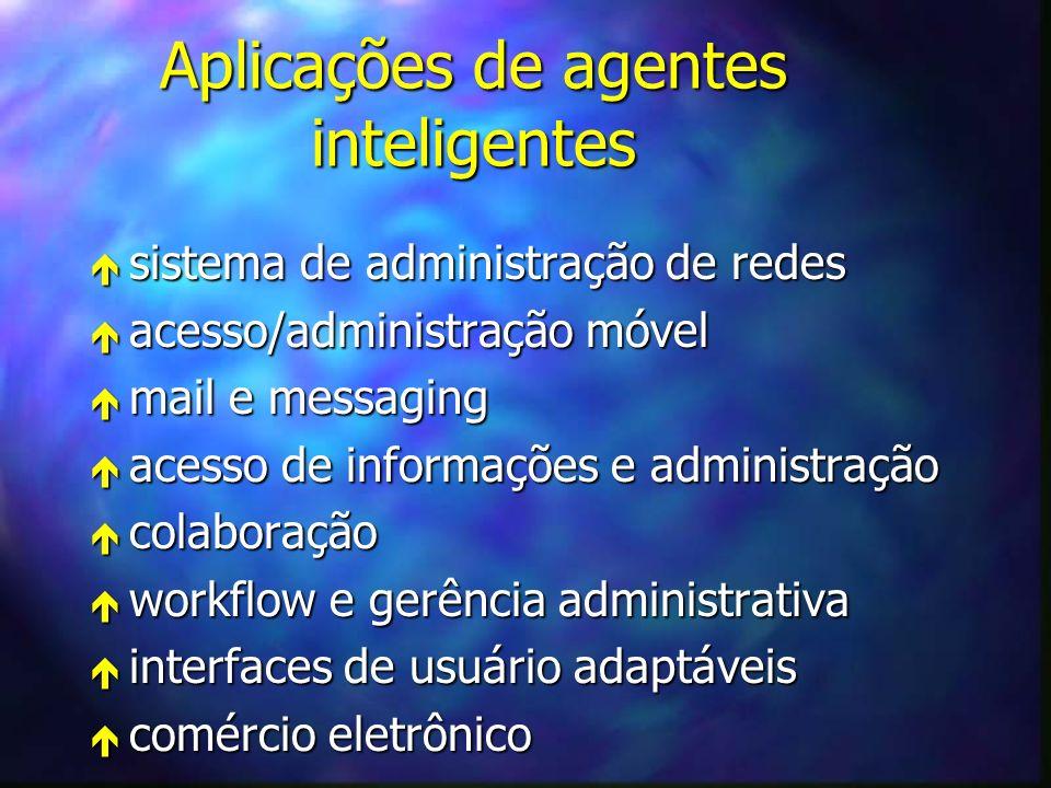 Aplicações de agentes inteligentes é sistema de administração de redes é acesso/administração móvel é mail e messaging é acesso de informações e administração é colaboração é workflow e gerência administrativa é interfaces de usuário adaptáveis é comércio eletrônico