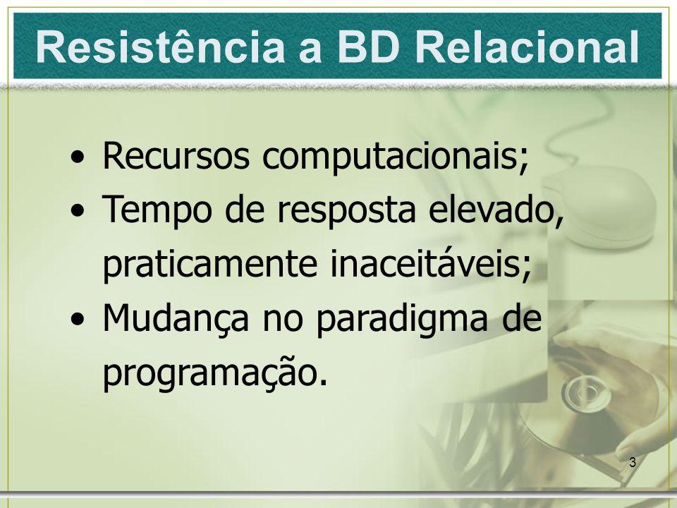 3 Resistência a BD Relacional Recursos computacionais; Tempo de resposta elevado, praticamente inaceitáveis; Mudança no paradigma de programação.