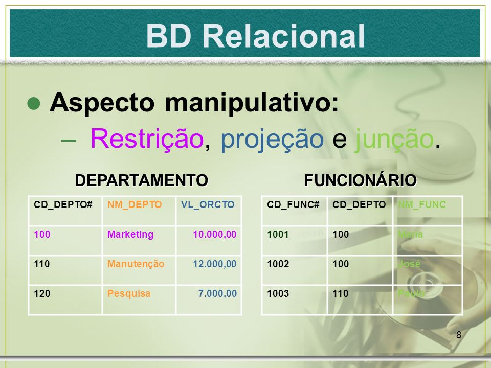 9 DB2; Oracle; MSSQL Server; MySQL; Interbase; SyBASE; Progress. BD Relacional - Exemplos