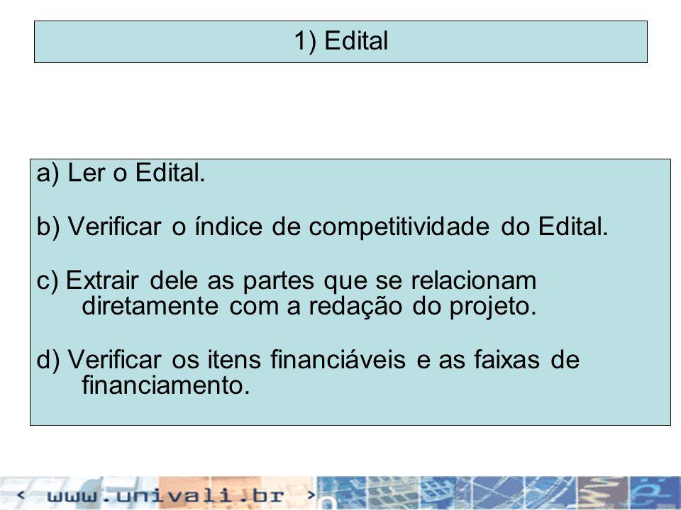 1) Edital a) Ler o Edital. b) Verificar o índice de competitividade do Edital. c) Extrair dele as partes que se relacionam diretamente com a redação d
