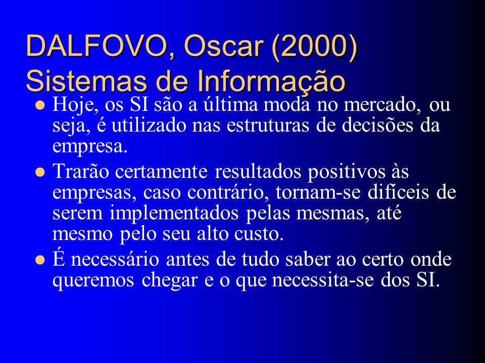 DALFOVO, Oscar (2000) Sistemas de Informação Hoje, os SI são a última moda no mercado, ou seja, é utilizado nas estruturas de decisões da empresa. Tra