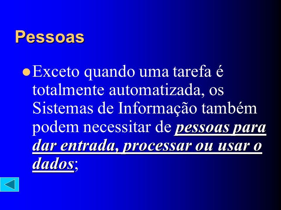 pessoas para dar entrada, processar ou usar o dados Exceto quando uma tarefa é totalmente automatizada, os Sistemas de Informação também podem necessi