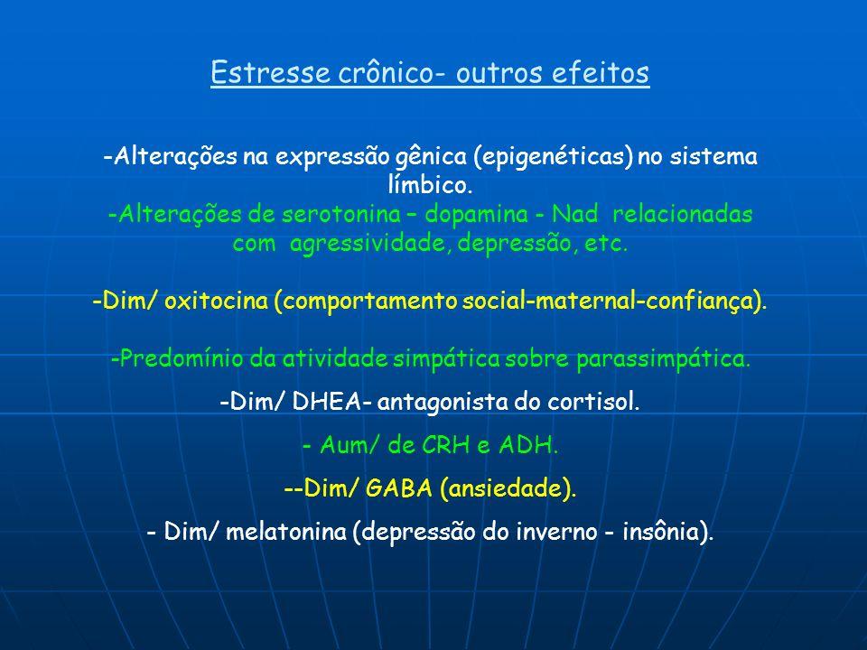 Estresse crônico- outros efeitos -Alterações na expressão gênica (epigenéticas) no sistema límbico. -Alterações de serotonina – dopamina - Nad relacio