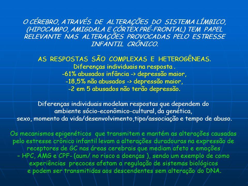O CÉREBRO, ATRAVÉS DE ALTERAÇÕES DO SISTEMA LÍMBICO, (HIPOCAMPO, AMIGDALA E CÓRTEX PRÉ-FRONTAL) TEM PAPEL RELEVANTE NAS ALTERAÇÕES PROVOCADAS PELO EST