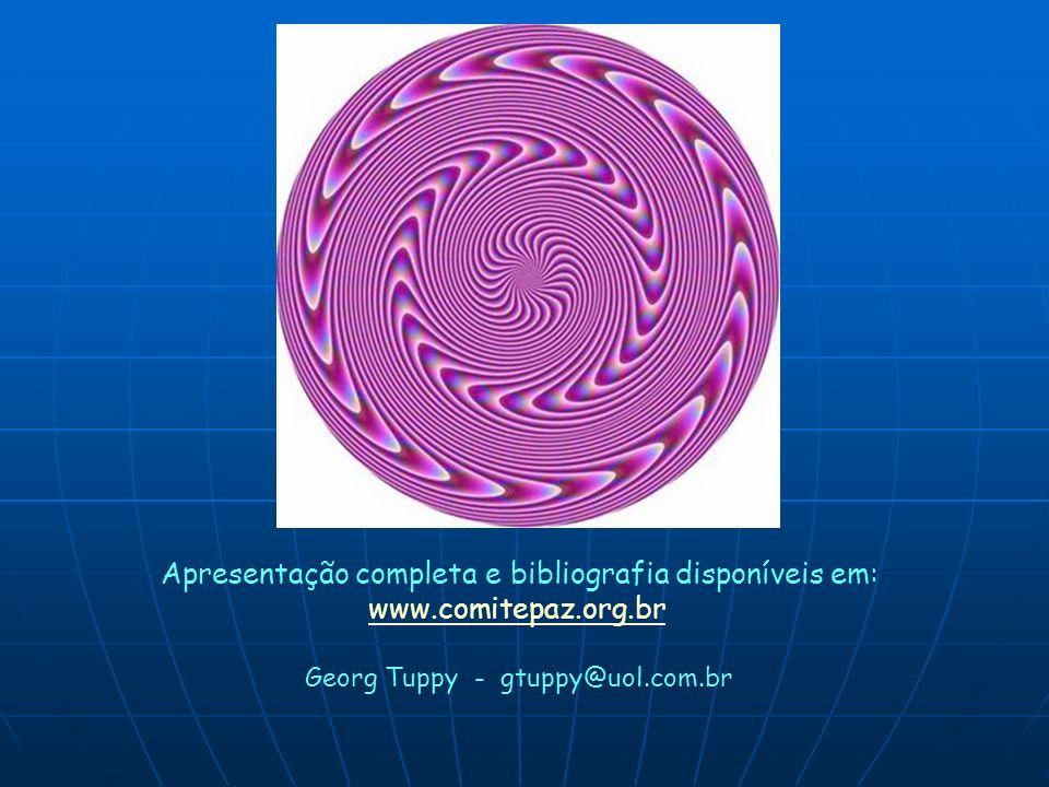 Apresentação completa e bibliografia disponíveis em: www.comitepaz.org.br Georg Tuppy - gtuppy@uol.com.br
