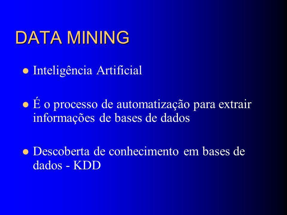 DATA MINING Inteligência Artificial É o processo de automatização para extrair informações de bases de dados Descoberta de conhecimento em bases de dados - KDD