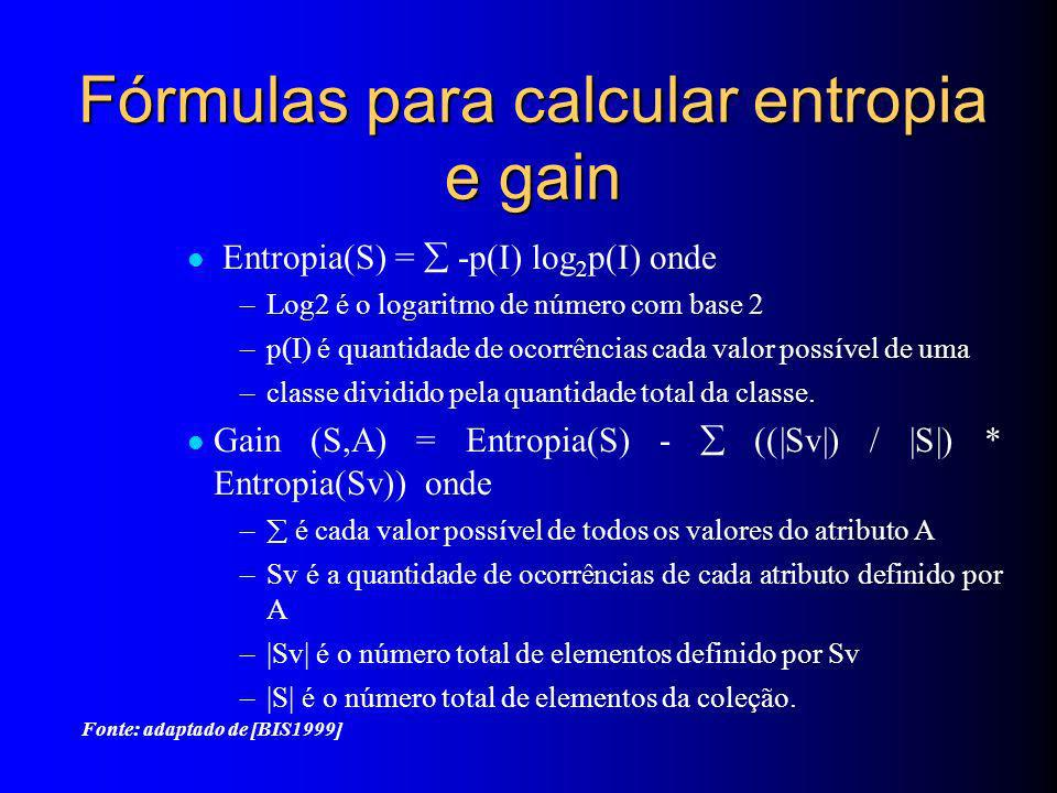Fórmulas para calcular entropia e gain Entropia(S) = -p(I) log 2 p(I) onde –Log2 é o logaritmo de número com base 2 –p(I) é quantidade de ocorrências cada valor possível de uma –classe dividido pela quantidade total da classe.