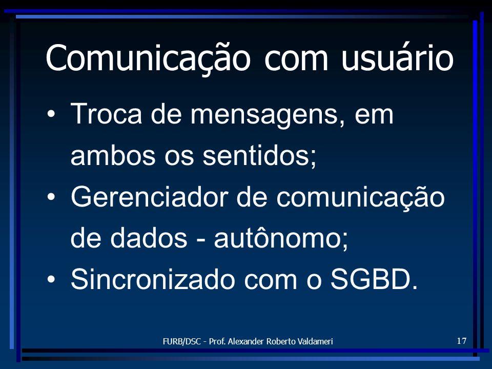 FURB/DSC - Prof. Alexander Roberto Valdameri 17 Comunicação com usuário Troca de mensagens, em ambos os sentidos; Gerenciador de comunicação de dados