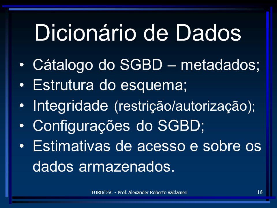 FURB/DSC - Prof. Alexander Roberto Valdameri 18 Dicionário de Dados Cátalogo do SGBD – metadados; Estrutura do esquema; Integridade (restrição/autoriz