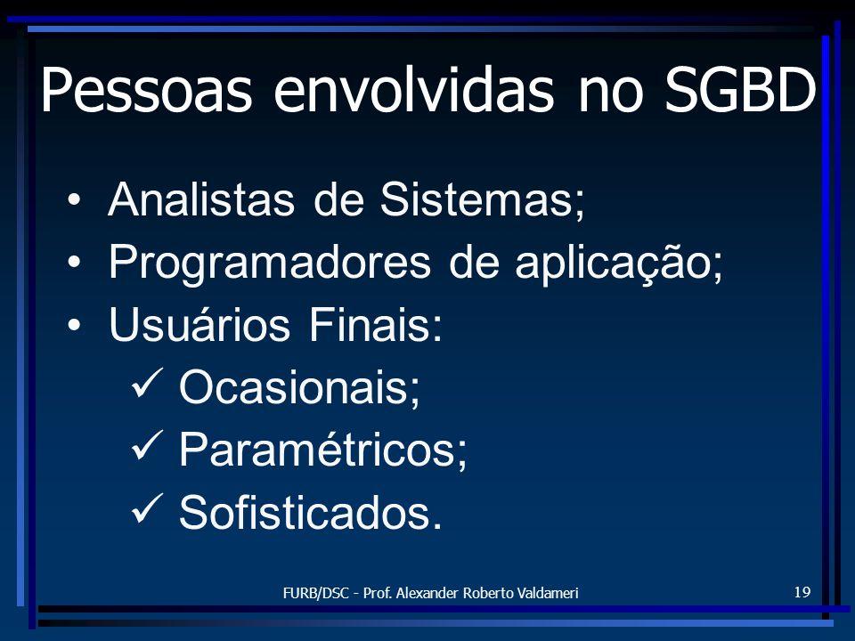 FURB/DSC - Prof. Alexander Roberto Valdameri 19 Pessoas envolvidas no SGBD Analistas de Sistemas; Programadores de aplicação; Usuários Finais: Ocasion