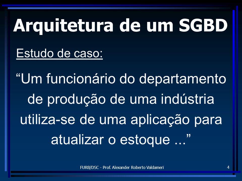 FURB/DSC - Prof. Alexander Roberto Valdameri 4 Arquitetura de um SGBD Um funcionário do departamento de produção de uma indústria utiliza-se de uma ap