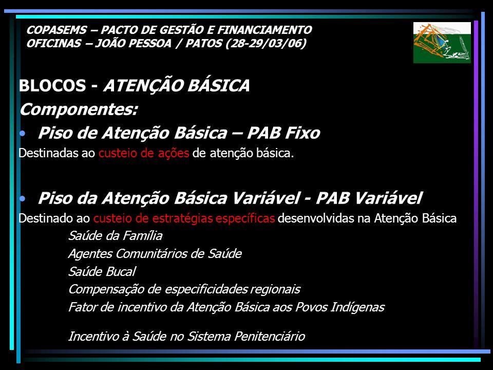 COPASEMS – PACTO DE GESTÃO E FINANCIAMENTO OFICINAS – JOÃO PESSOA / PATOS (28-29/03/06) BLOCOS - ATENÇÃO BÁSICA Componentes: Piso de Atenção Básica –