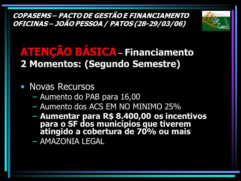 COPASEMS – PACTO DE GESTÃO E FINANCIAMENTO OFICINAS – JOÃO PESSOA / PATOS (28-29/03/06) ATENÇÃO BÁSICA – Financiamento 2 Momentos: (Segundo Semestre)