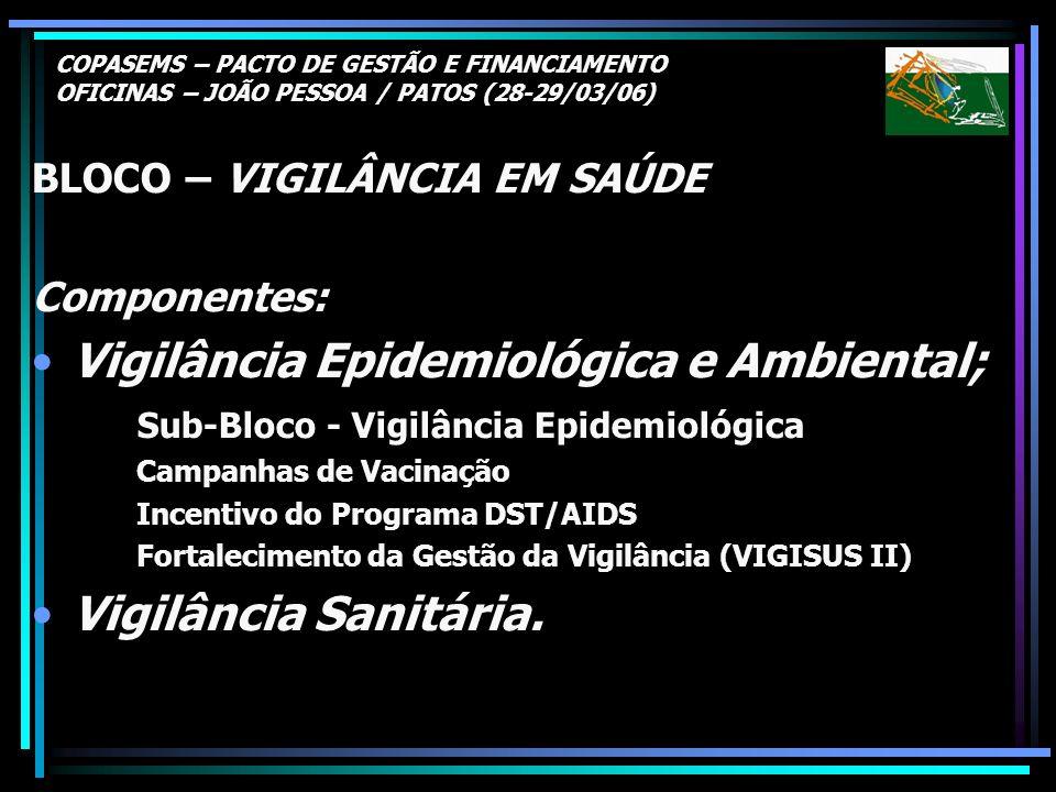 COPASEMS – PACTO DE GESTÃO E FINANCIAMENTO OFICINAS – JOÃO PESSOA / PATOS (28-29/03/06) BLOCO – VIGILÂNCIA EM SAÚDE Componentes: Vigilância Epidemioló