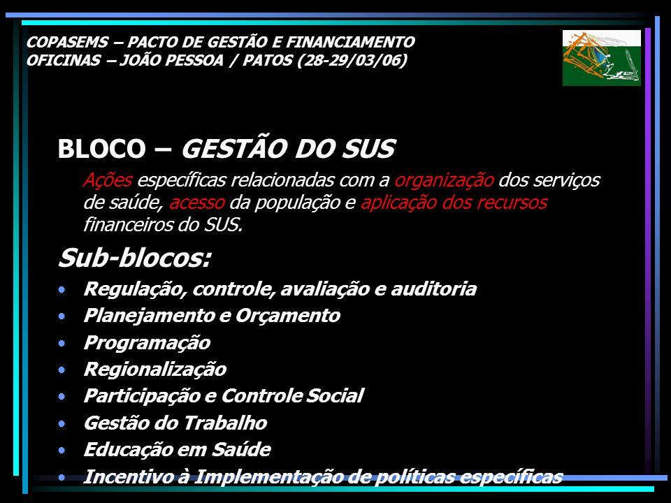 COPASEMS – PACTO DE GESTÃO E FINANCIAMENTO OFICINAS – JOÃO PESSOA / PATOS (28-29/03/06) BLOCO – GESTÃO DO SUS Ações específicas relacionadas com a org