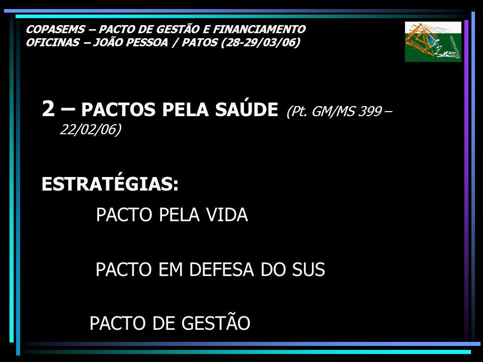 COPASEMS – PACTO DE GESTÃO E FINANCIAMENTO OFICINAS – JOÃO PESSOA / PATOS (28-29/03/06) 2 – PACTOS PELA SAÚDE (Pt. GM/MS 399 – 22/02/06) ESTRATÉGIAS: