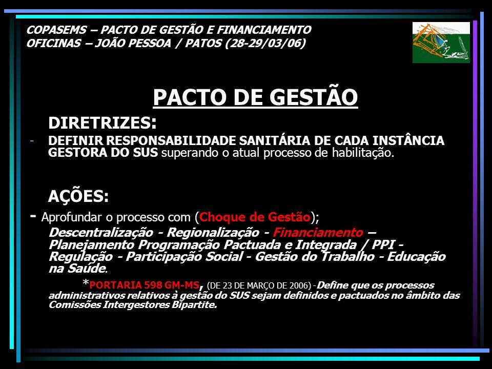 COPASEMS – PACTO DE GESTÃO E FINANCIAMENTO OFICINAS – JOÃO PESSOA / PATOS (28-29/03/06) PACTO DE GESTÃO DIRETRIZES : -DEFINIR RESPONSABILIDADE SANITÁR