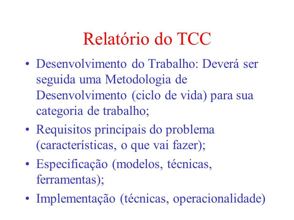 Relatório do TCC Desenvolvimento do Trabalho: Deverá ser seguida uma Metodologia de Desenvolvimento (ciclo de vida) para sua categoria de trabalho; Re