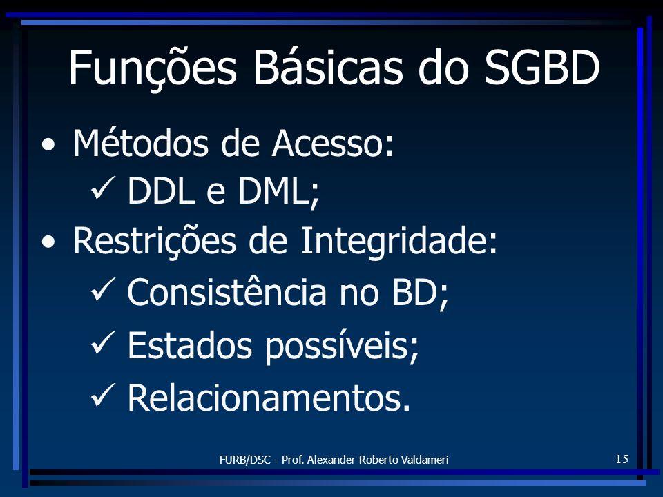 FURB/DSC - Prof. Alexander Roberto Valdameri 15 Funções Básicas do SGBD Métodos de Acesso: DDL e DML; Restrições de Integridade: Consistência no BD; E