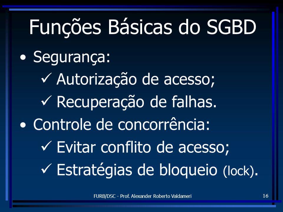 FURB/DSC - Prof. Alexander Roberto Valdameri 16 Segurança: Autorização de acesso; Recuperação de falhas. Controle de concorrência: Evitar conflito de