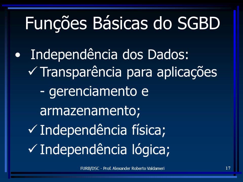 FURB/DSC - Prof. Alexander Roberto Valdameri 17 Independência dos Dados: Transparência para aplicações - gerenciamento e armazenamento; Independência