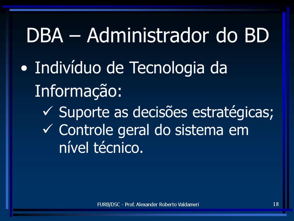 FURB/DSC - Prof. Alexander Roberto Valdameri 18 DBA – Administrador do BD Indivíduo de Tecnologia da Informação: Suporte as decisões estratégicas; Con