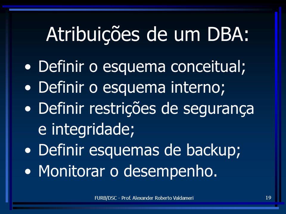 FURB/DSC - Prof. Alexander Roberto Valdameri 19 Atribuições de um DBA: Definir o esquema conceitual; Definir o esquema interno; Definir restrições de