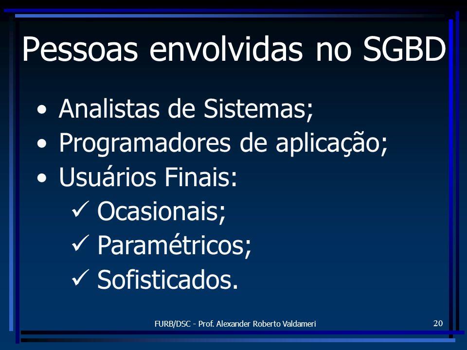 FURB/DSC - Prof. Alexander Roberto Valdameri 20 Pessoas envolvidas no SGBD Analistas de Sistemas; Programadores de aplicação; Usuários Finais: Ocasion