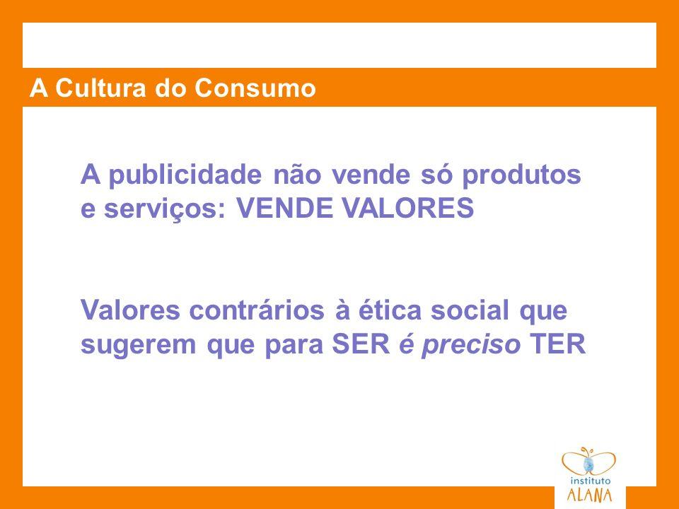 A Cultura do Consumo A publicidade não vende só produtos e serviços: VENDE VALORES Valores contrários à ética social que sugerem que para SER é precis