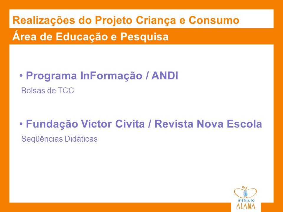 Área de Educação e Pesquisa Realizações do Projeto Criança e Consumo Programa InFormação / ANDI Bolsas de TCC Fundação Victor Civita / Revista Nova Es
