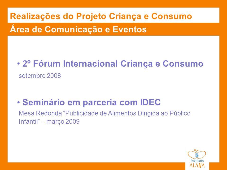 Área de Comunicação e Eventos Realizações do Projeto Criança e Consumo 2º Fórum Internacional Criança e Consumo setembro 2008 Seminário em parceria co