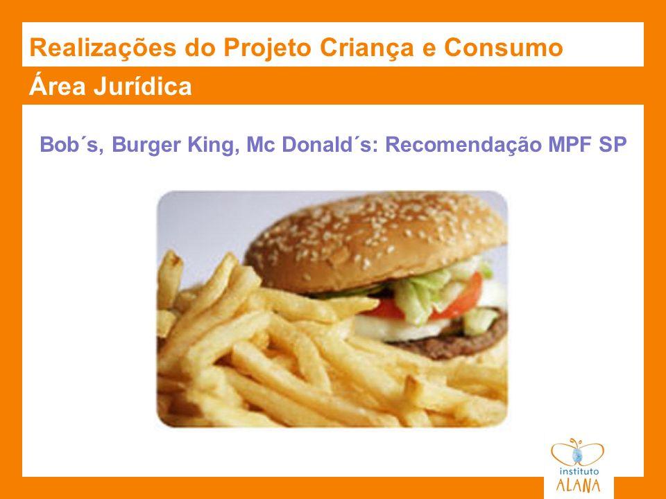 Área Jurídica Bob´s, Burger King, Mc Donald´s: Recomendação MPF SP Realizações do Projeto Criança e Consumo