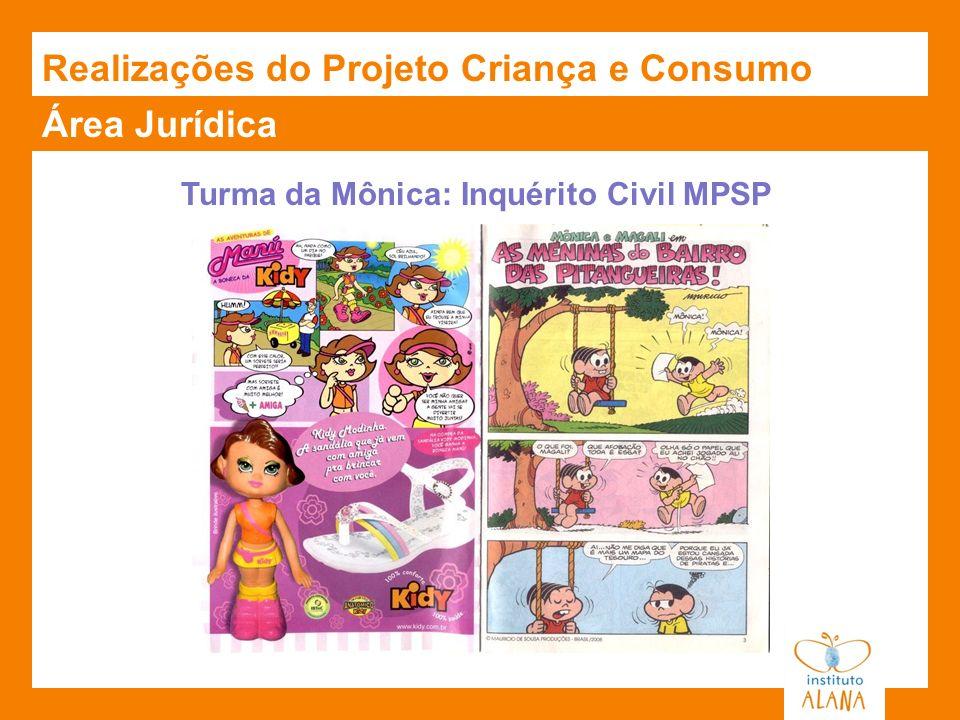Área Jurídica Turma da Mônica: Inquérito Civil MPSP Realizações do Projeto Criança e Consumo