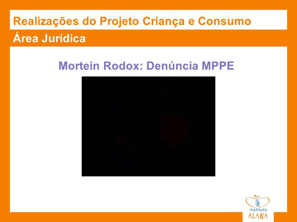 Área Jurídica Mortein Rodox: Denúncia MPPE Realizações do Projeto Criança e Consumo