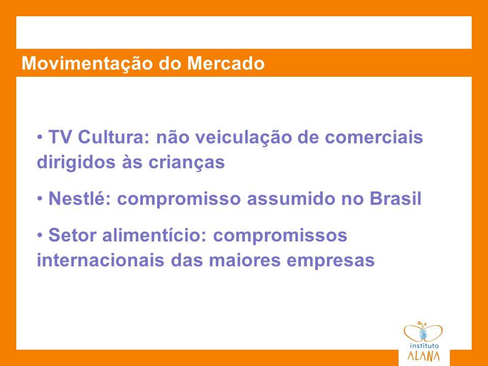 Movimentação do Mercado TV Cultura: não veiculação de comerciais dirigidos às crianças Nestlé: compromisso assumido no Brasil Setor alimentício: compr
