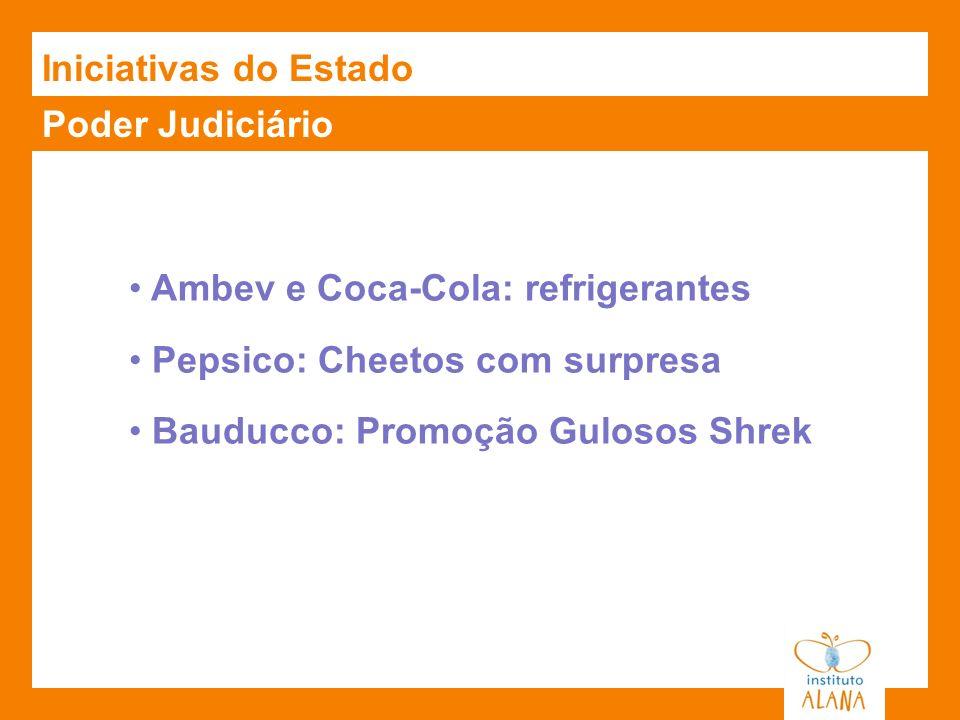 Poder Judiciário Ambev e Coca-Cola: refrigerantes Pepsico: Cheetos com surpresa Bauducco: Promoção Gulosos Shrek Iniciativas do Estado