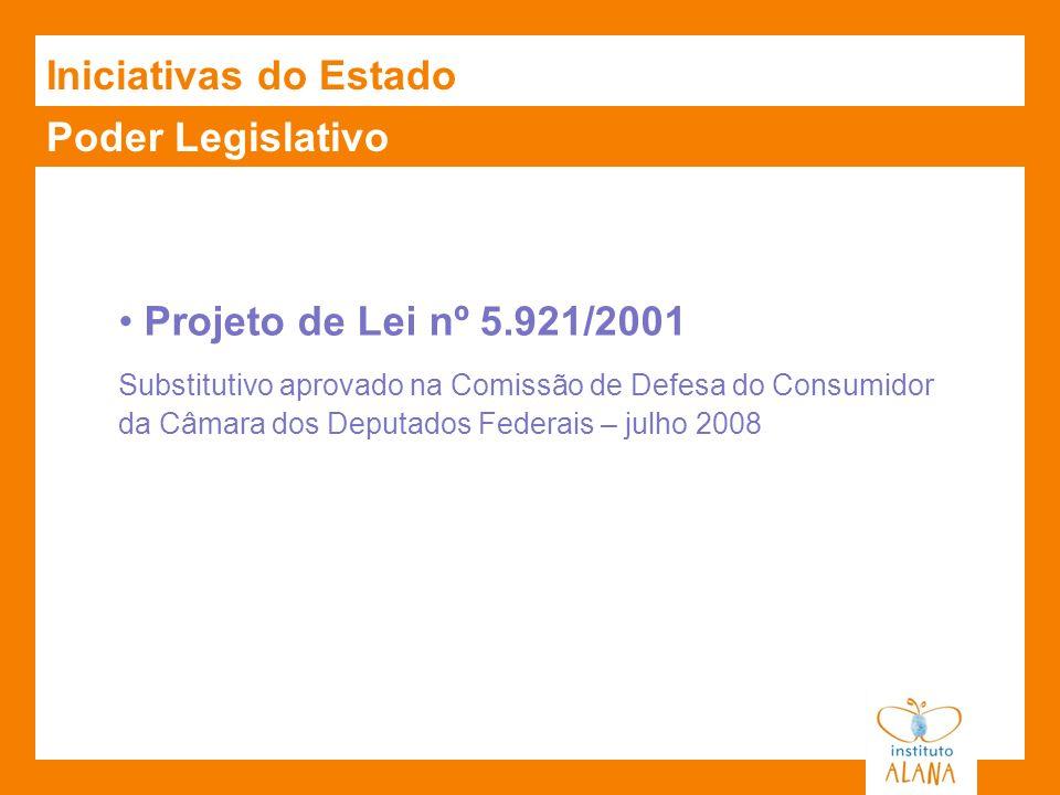 Poder Legislativo Projeto de Lei nº 5.921/2001 Substitutivo aprovado na Comissão de Defesa do Consumidor da Câmara dos Deputados Federais – julho 2008