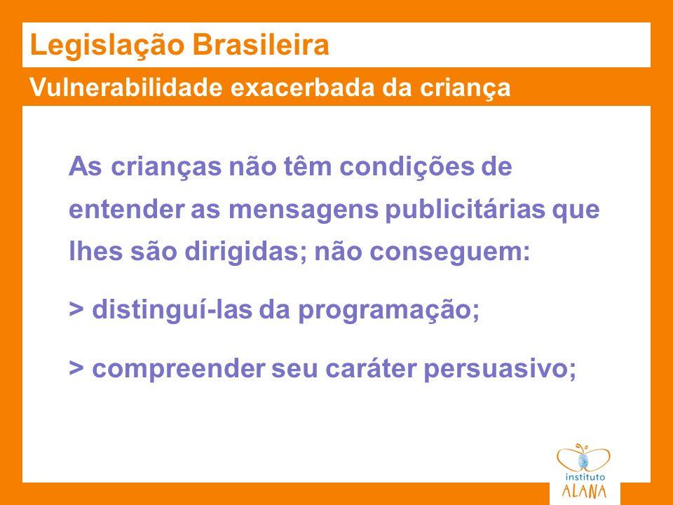 Vulnerabilidade exacerbada da criança Legislação Brasileira As crianças não têm condições de entender as mensagens publicitárias que lhes são dirigida