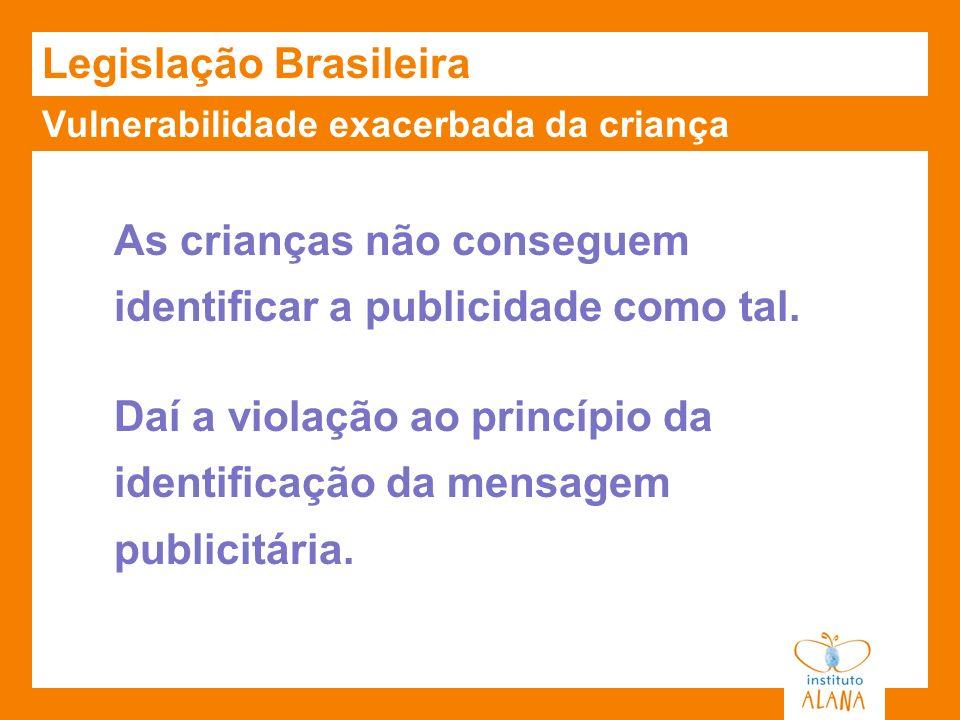Vulnerabilidade exacerbada da criança Legislação Brasileira As crianças não conseguem identificar a publicidade como tal. Daí a violação ao princípio