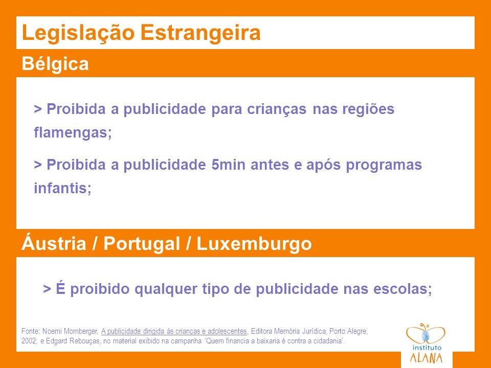 Bélgica Legislação Estrangeira > Proibida a publicidade para crianças nas regiões flamengas; > Proibida a publicidade 5min antes e após programas infa