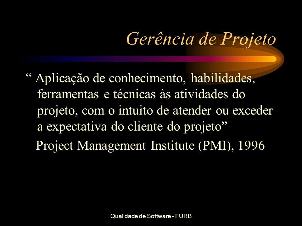 Qualidade de Software - FURB Gerência de Projeto Aplicação de conhecimento, habilidades, ferramentas e técnicas às atividades do projeto, com o intuit