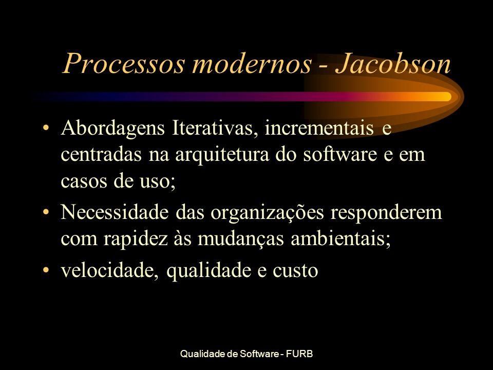 Qualidade de Software - FURB Processos modernos - Jacobson Abordagens Iterativas, incrementais e centradas na arquitetura do software e em casos de us