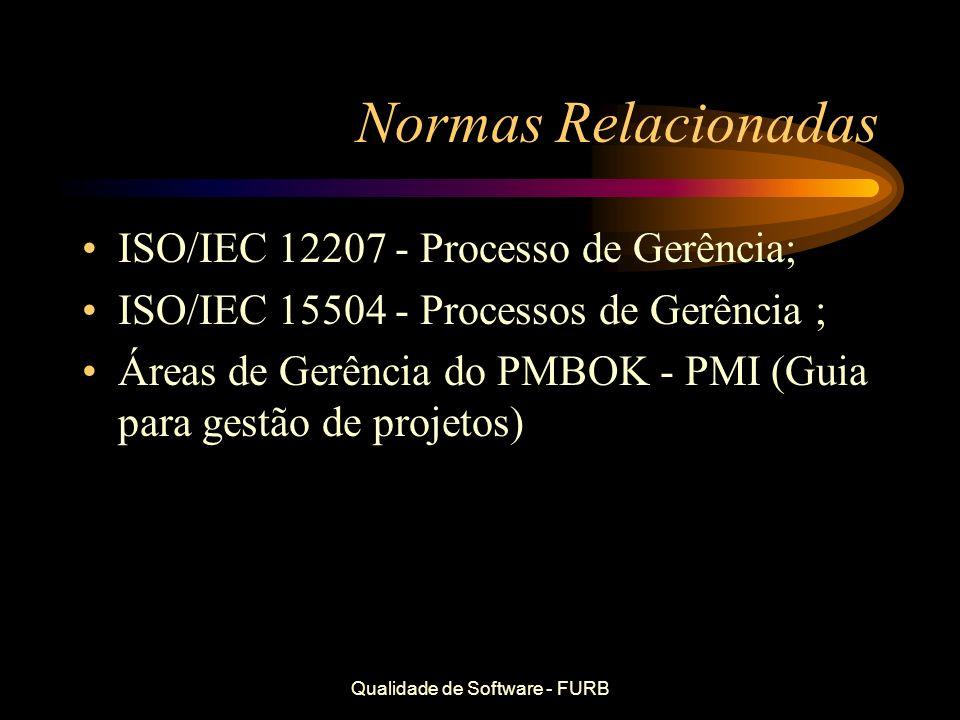Qualidade de Software - FURB Normas Relacionadas ISO/IEC 12207 - Processo de Gerência; ISO/IEC 15504 - Processos de Gerência ; Áreas de Gerência do PM
