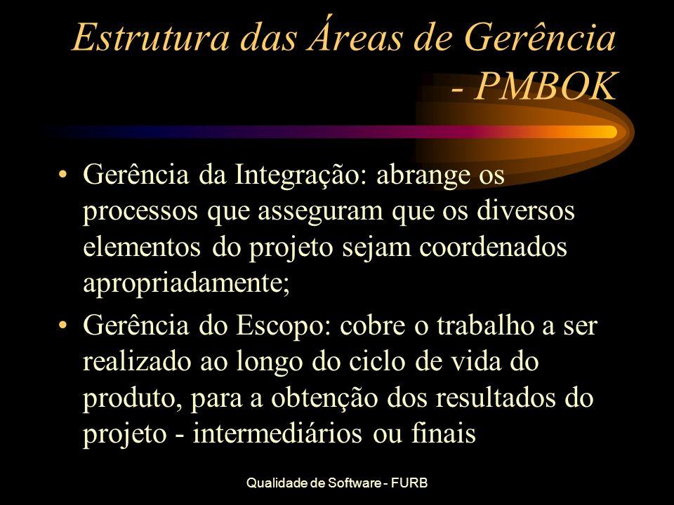 Qualidade de Software - FURB Estrutura das Áreas de Gerência - PMBOK Gerência da Integração: abrange os processos que asseguram que os diversos elemen
