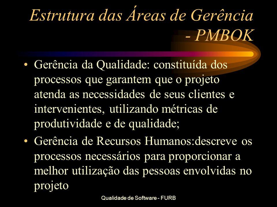 Qualidade de Software - FURB Estrutura das Áreas de Gerência - PMBOK Gerência da Qualidade: constituída dos processos que garantem que o projeto atend
