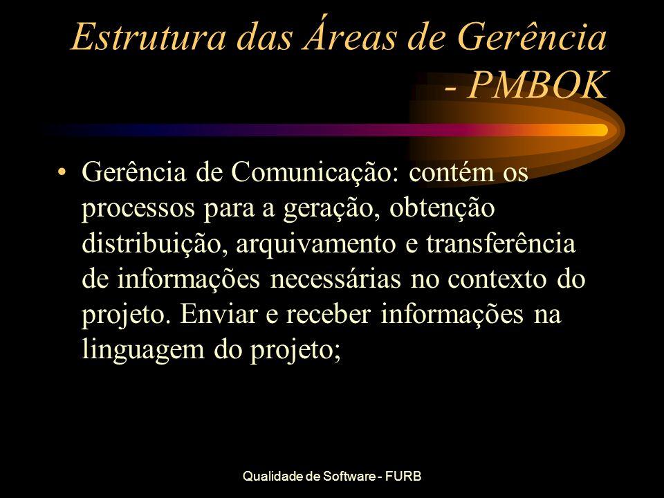 Qualidade de Software - FURB Estrutura das Áreas de Gerência - PMBOK Gerência de Comunicação: contém os processos para a geração, obtenção distribuiçã