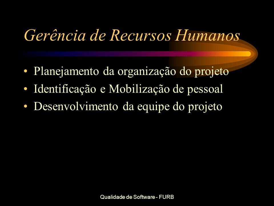 Qualidade de Software - FURB Gerência de Recursos Humanos Planejamento da organização do projeto Identificação e Mobilização de pessoal Desenvolviment