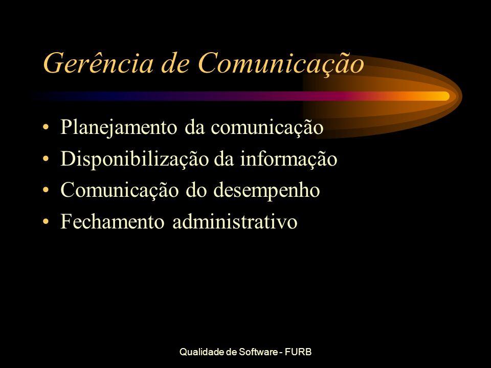 Qualidade de Software - FURB Gerência de Comunicação Planejamento da comunicação Disponibilização da informação Comunicação do desempenho Fechamento a