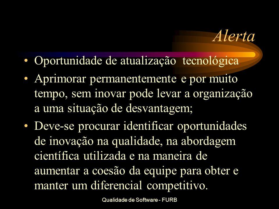 Qualidade de Software - FURB Alerta Oportunidade de atualização tecnológica Aprimorar permanentemente e por muito tempo, sem inovar pode levar a organ